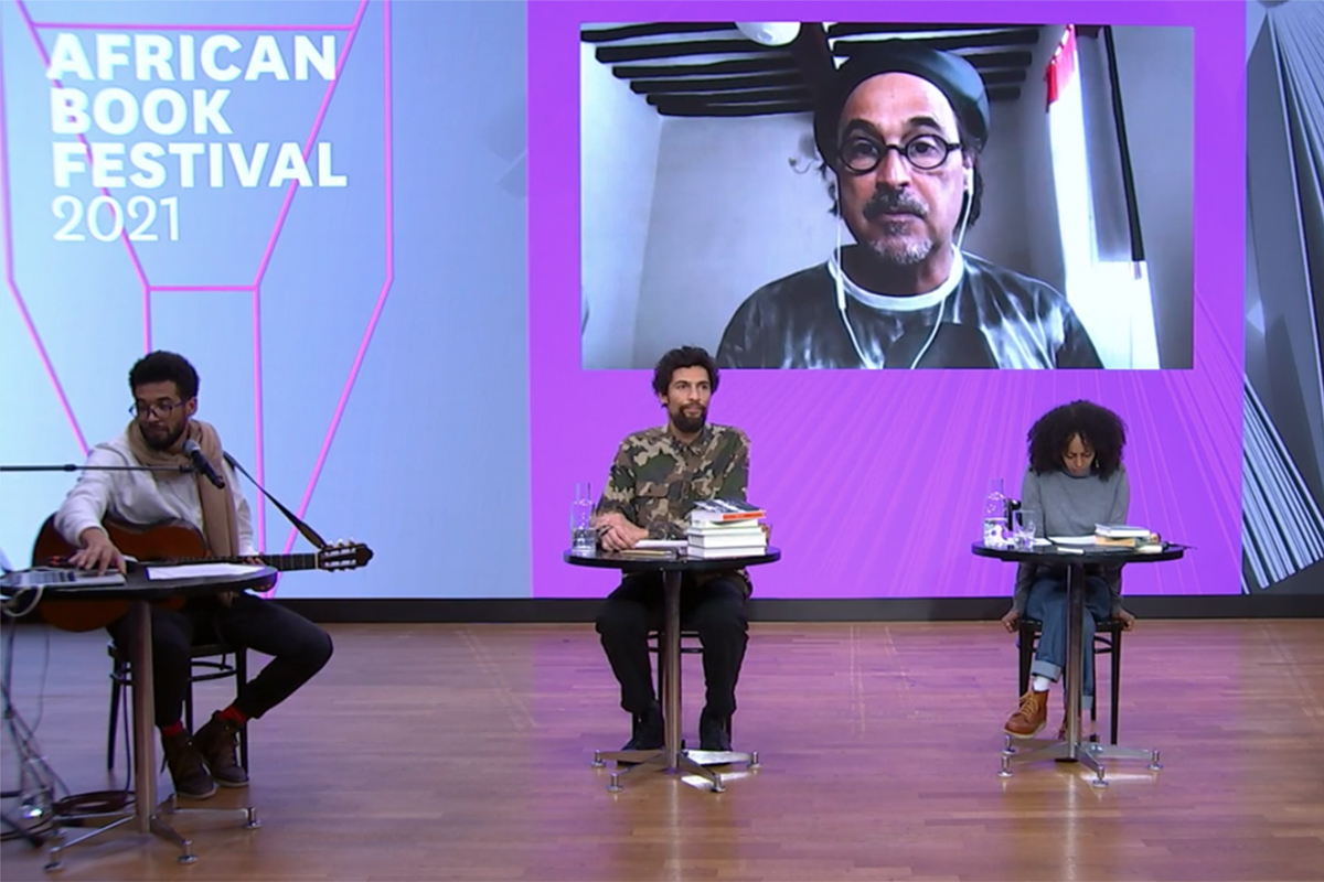 José Eduardo Agualusa wird zugeschaltet © Livestream/Literaturhaus