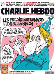 Cover der Charlie Hebdo-Ausgabe N° 1177 vom 7.1.2015 mit einer Karikatur Houellebecqa von LUZ.